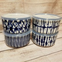 "4pc Signature Housewares Blue & White Tie Dye 5.25"" Stoneware Bowls & Li... - $33.85"
