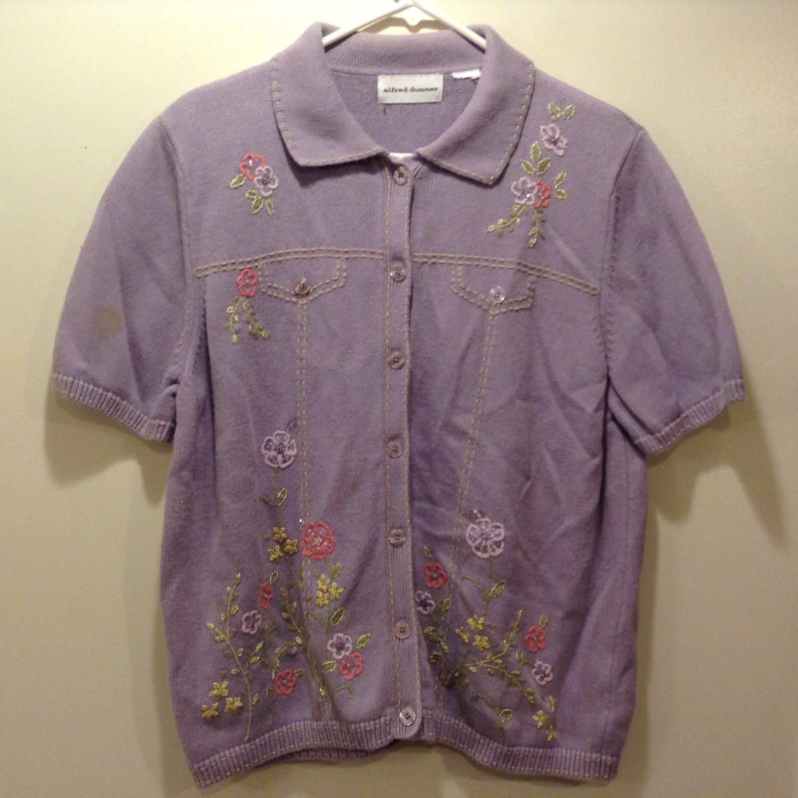 Alfred Dunner Ladies Embroidered Short Sleeve Lavender Sweater