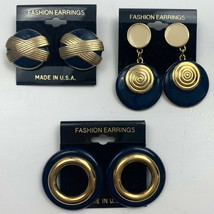 Vintage Blue Enamel Pierced Earrings Lot New Old Stock Dangle Big Round ... - $19.75