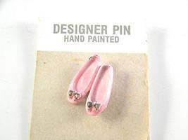 JJ Jonette Pink Enamel Ballet Slippers Vintage Brooch Pin - $11.39