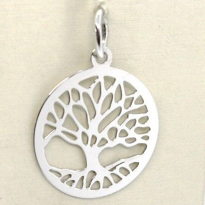 18K WHITE GOLD TREE OF LIFE ROUND FLAT PENDANT CHARM, 1.0 INCHES MADE IN ITALY