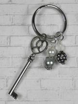 Skeleton Key Heart Glass Clay Beaded Handmade Keychain Split Key Ring Bl... - $13.09
