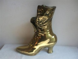 Victorian Ladies Lace Up Boot Shoe Planter Vase Long Match Holder Brass ... - $29.65