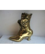 "Victorian Ladies Lace Up Boot Shoe Planter Vase Long Match Holder Brass 10""tall - $29.65"