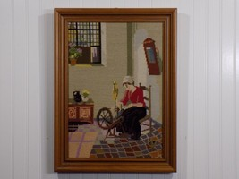 Very Nice Vintage Framed Needlepoint Art Canvas Woman at Spinning Wheel - $61.88