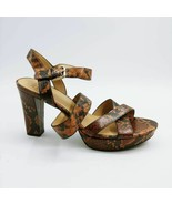 Naturalizer Womens Kanye Sandals Black Snakeskin Buckle Platform Heels 9... - $47.91