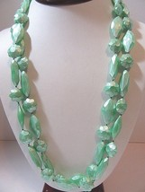 VINTAGE TEXTURED FROSTED PLASTIC GREEN LONG NECKLACE MID CENTURY BEADED ... - $22.00