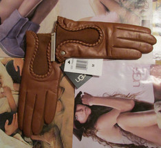 UGG Gloves Krewe Chestnut Leather Medium NEW $165 - $125.00
