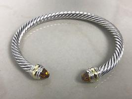 David Yurman Sterling Silver 14k Gold Citrine 5mm Cable Classic Bracelet - $284.99