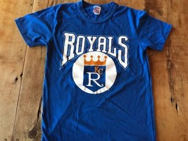 1970s 80s Champion KC Royals Crown Baseball Ringer T Shirt Medium Shrunk - $20.90