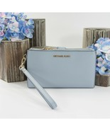 Michael Kors Pale Blue Pebbled Leather Phone Travel Wallet Wristlet NWT - $103.46