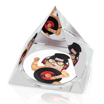 "Swag Hip Kitty Hipster Cat Photo Animal Art 2"" Crystal Pyramid Paperweight - $15.99"