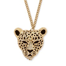 "Onyx and Crystal Yellow Gold Tone Leopard Necklace 30"" - $23.82"