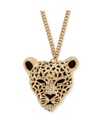 """Onyx and Crystal Yellow Gold Tone Leopard Necklace 30"""" - $23.82"""