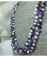 Amethyst Gemstone Nugget White Freshwater Pearl Long Necklace 41 Inch - $38.00