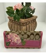 Coach Wallet Floral Applique Pink Sateen Stripe Khaki Canvas Leather 414... - $78.39