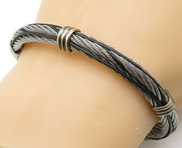 925 Sterling Silver - Vintage Rope Twist Designed Bangle Bracelet - B5640 image 1