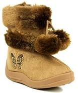 Kali Footwear Little Girl's Zello Glitter Pom Pom Boots 7,Camel - $14.20