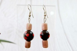 Colorful Vintage Dangle Earrings, Pink and Black Ceramic Jewelry - $8.59