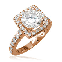 Halo Engagement Ring Setting for a Round Diamond, 0.80CT in 14K Pink Gold - $1,925.00