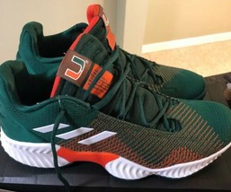 Adidas Pro Bounce 2018 Low Size 11.5 Shoes Miami Hurricanes Green Orange... - $89.09