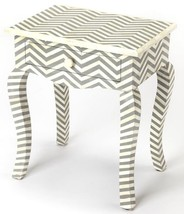 Anthropologie & Horchow Herringbone Bone Inlay Accent Table Nightstand New - €697,47 EUR