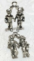 BOY AND GIRL FINE PEWTER PENDANT CHARM - 16x25x6mm image 1