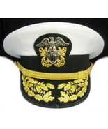 US NAVY COMMANDER ADMIRAL RANK WHITE HAT CAP AUTHENTIC NEW ALL SIZES - C... - $122.00