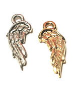 DOUBLE SIDED ANGEL WING FINE PEWTER CHARM - 8.5mm L x 19mm W x 2.2mm D image 1