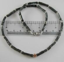 NECKLACE GIADAN 925 SILVER HEMATITE GLOSSY AND WITH 8 DIAMONDS BLACK image 2