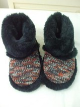 6fd1b63c3a Sam & Libby Sweater Knit w Faux Fur Booties Indoor Shoes Sippers Rubber  Sz 6