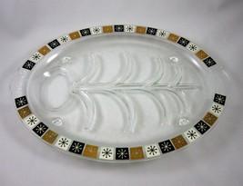 Inland Glass Vintage Platter Gold Black Starburst Mid Century Modern 14.... - $25.19