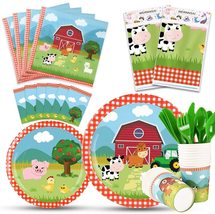 Farm Party Tableware Set - Barnyard Animal Themed Party Supplies , serves 16 - $53.99