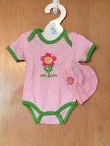 Hot Pink Flower Onesie & Hat Set 0-6 Months - $15.00