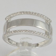 White Gold Ring 750 18K, Veretta 3 Row with Zircon Cubic , Squared image 1