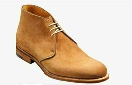 Handmade Men's Tan Suede Chukka Lace Up Boots image 2