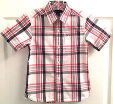Tommy Hilfiger Boys Sz 4-5yrs Red Gray White Plaid Short Sleeve Button S... - $6.92