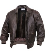 Brown Leather Classic Military Air Force Style A-2 Flight Jacket - $209.99+