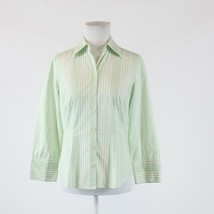 White green striped 100% cotton ANN TAYLOR LOFT 3/4 sleeve button down b... - $19.99