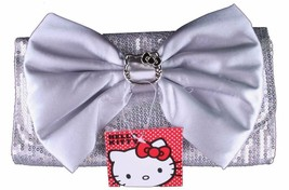 Hello Kitty Clutches Silver Sequin Clutch Purse with Bow