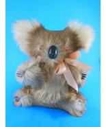 "Koala Plush with Kangaroo fur 8"" Firm body glass eyes Vintage - $17.81"