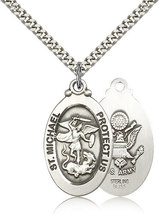 ARMY MEDAL -Sterling Silver St. Michael the Archangel Medal & Chain - $79.99