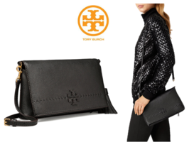 Tory Burch Thea Fold Over Crossbody Black Color 41139698 with Free Gift - £172.78 GBP