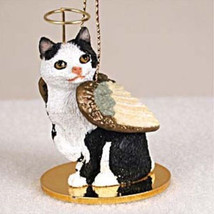 MANX BLACK WHITE ANGEL CAT CHRISTMAS ORNAMENT HOLIDAY  Figurine Statue  - $12.38