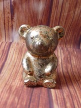 "Vintage Selandia Metal Piggy Bank with Stopper 3-3/4"" Tall Japan TEDDY BEAR - $12.65"