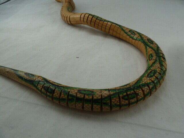 """Vintage Articulated Wooden COBRA TOY SNAKE 24"""" LONG HAND MADE RARE! image 5"""