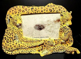 """Vintage Leopard Picture / Mirror Resin Frame  Popular Imports, 2000 Animal 4x6"""""""