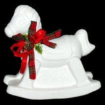 "Christmas Holiday White Rocking Horse Ceramic Figurine 1980s 7.5"" Taiwan... - $29.70"