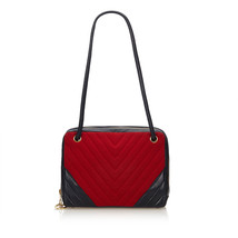 Pre-loved Chanel Red Chemical Fiber Fabric Chevron Shoulder Bag France - $951.54
