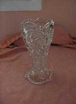 Vintage Clear Cut Glass Crystal Pedestal Vase Pinwheel - $44.55